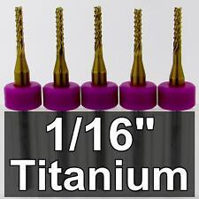 """1/16"""" Carbide Router < Titanium Coated > FIVE Pieces cnc carbon fiber m142"""