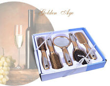 5 Piece Hair Styling Hairdressing Professional Brush Comb Set With Mirror Gold