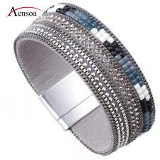 Trendy Women Wide Leather Rhinestone Crystal Beads Wrap Charm Bracelet Jewelry