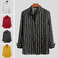 Retro Mens Casual Linen Loose Long Sleeve Shirt Collarless Stripe Blouse Tee Top