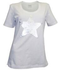 STOOKER T-Shirt Gr. 40 42 weiß 3D Pailletten Stern Shirt kurzarm neu