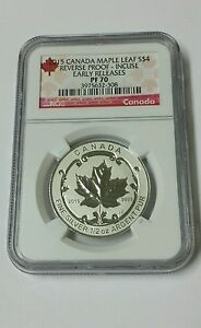 2015 Canada Maple Leaf S$4 Reverse Proof - Incuse Early Releases PF 70
