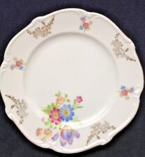 Bavaria Desert Plate Flower Gold Trim Scallop Back Maker Mark Europe