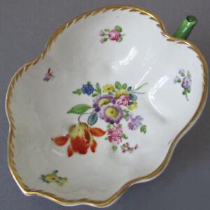 Antique DRESDEN HP Porcelain LEAF Shaped Dish Colorful Flowers w GILT * Thieme