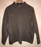 Men's Dark Brown Zip Up Jumper Size XL Bm<NH7118