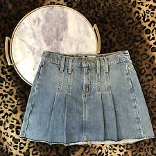 Roxy Sz 0 Blue Denim Pleated Jean School Girl Style Mini Skirt