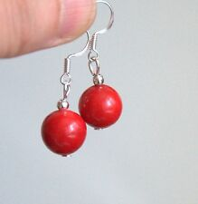 Silver plated round red Coral drop hook Gemstone Earrings