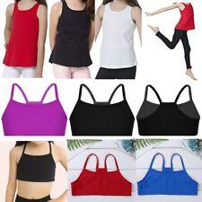 Kids Girls Soft Tank Tops Cotton Sport Vest Underwear Crop Top Solid Color Top