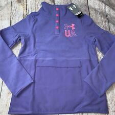 Under Armour Girls Youth Large (14) Purple Fleece 1/2 Snap Pullover Jacket NEW