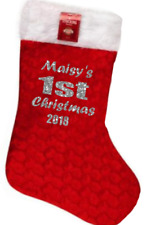Personalised kids/childrens xmas stocking your name 1st first christmas glitter