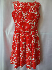 GABBY Floral Shantung Belted Sleeveless Dress, Tangerine Size 14.