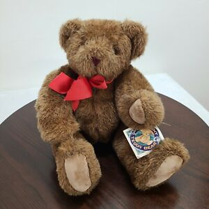 """1994 The Vermont Teddy Bear Company Plush 15"""" Brown Jointed Stuffed Animal Toy"""