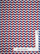 Patriotic Chevron Red Blue Crm Cotton Fabric P&B Sweet Land Liberty By The Yard