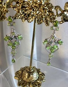 Emerald Peridot Sterling Earrings,Val,$1,250. NEW