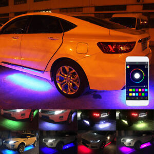 4x RGB LED Under Car Tube Strip Underglow Body Neon Light Kit Waterproof