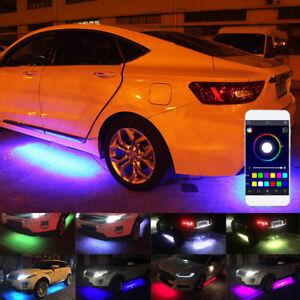 4x RGB LED Under Car Tube Strip Underglow Body Neon Light Kit Waterproof