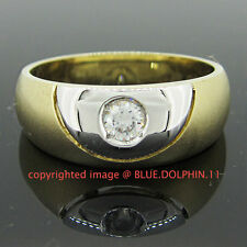 Real Genuine Solid 9k Yellow White Gold Engagement Wedding Dress Mens Ring Band