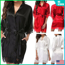Women Fashion Robes Nightwear Lace Short Sleeve Nightgown