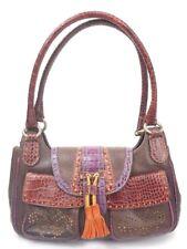 Crocodile Embossed ETRO Multi-Colored Tassle Shoulder Leather Handbag