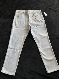 Mens Jordache Joe Slim Fit Tie Dye Blue Jeans Size 36x30