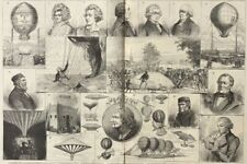 1884 Large Engraving - Centenary of Hot Air Ballooning - Experimental Machines