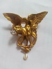 Art Nouveau Gothic Revival Gold 14K Chimera / Gryphon / Dragon Brooch w Diamond