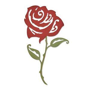 "FUSTELLA THINLITS SIZZIX ""ROSA COMPLESSA"" 661064 STAMPA ROSE FIORI PER BIG SHOT"