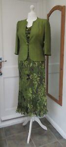 Jacques Vert Wedding Green Purple Silk Devore Suit Top Skirt Jacket 12 14 16 BN