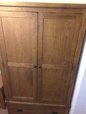 RUSTIC SOLID oak hardwood double gents wardrobe with drawer
