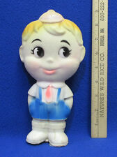 Vintage Rubber Squeak Toy Young Boy w/ Hat & Overalls W West Germany Made
