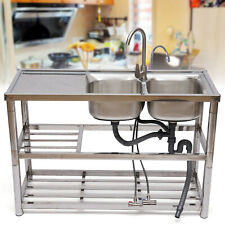 304 Stainless Steel Commercial Kitchen Sink 2 Bowls Utility Sink With Drainboard