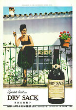 Vintage Colour Advertisement Print London Dry Sack Sherry Emabassy Cigars 1962