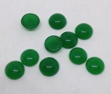 10 x Flatback Green Glass Cabochon  - approx 8 mm