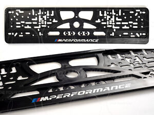 2x BMW LICENSE PLATE FRAMES FOR EUROPEAN SIZE E F G SERIES M-PERFORMANCE ///M
