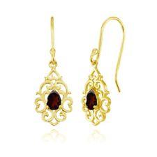 Filigree Heart Garnet Teardrop Dangle Earrings in Gold Plated Sterling Silver