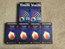 6 Sealed VHS Tapes Memorex, BASF