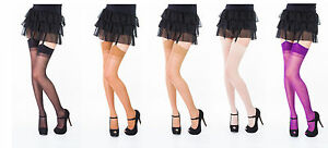 Plain Top Sheer Stockings ,One Size & Plus Size,Various Colours