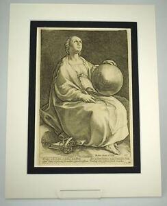 Hendrik Goltzius Engraving Muse Urania antique master print c.1600