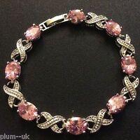 "GB Pink oval sapphires 7.25"" bracelet 18k WHITE GOLD filled GIFT BOXED Plum UK"