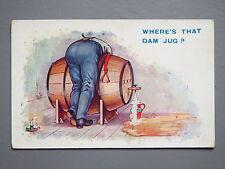 R&L Postcard: Comic, Stocker Shaw, Over a Barrel, Beer Keg, HB