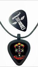 GUITAR PICK Necklace by Pickbandz PICK HOLDER in Black w/ GUNS-N-ROSES pick!