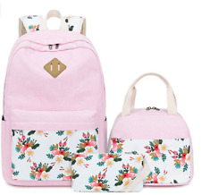Bluboon Teens Backpack Set Canvas Girls School Bags Bookbags 3 in 1 - E0079-Pink