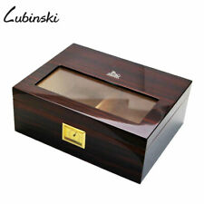 LUBINSKI Solid Cedar Cigar Humidor Case Box w/ Humidifier Hygrometer 50 Cigars