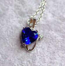 Devil Heart Blue Cubic Zirconia Silver Plated  Pendant Necklace
