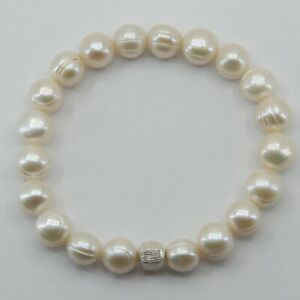 ARTISAN Pearl Stretch Bracelet with a 925 Sterling Silver Bead #7