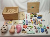 Zolo Vintage 1980's Higashi Glaser Design Toy Set in Wood Box Rough User Item