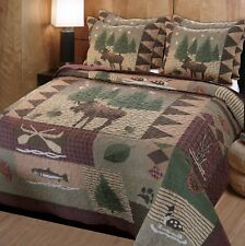 Hunter Lodge King Quilt Set : Brown Cabin Mountain Wilderness Canoe Fish Bedding