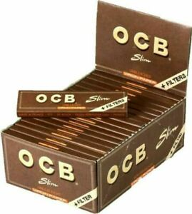 OCB Brown Kingsize Slim Virgin Unbleached Rolling Paper + Filter Tips 32 Booklet