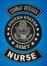 US ARMY NURSE COMBAT VETERAN BACK PATCHES FOR VET BIKER MOTORCYCLE VEST JACKET