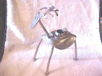 WHIMSICAL Metal Deer Reindeer Buck Stag HAMMERED ALUMINUM Candle Holder
